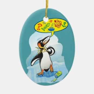 Ornamento De Cerâmica Pinguim de rei desesperado que diz palavras más
