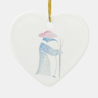 Ornamento De Cerâmica Pinguim do fazendeiro