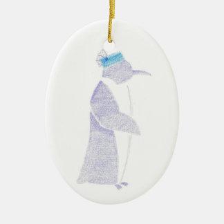 Ornamento De Cerâmica Pinguim em um chapéu extravagante