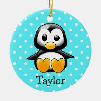 Ornamento De Cerâmica Pinguim engraçado bonito feito sob encomenda dos