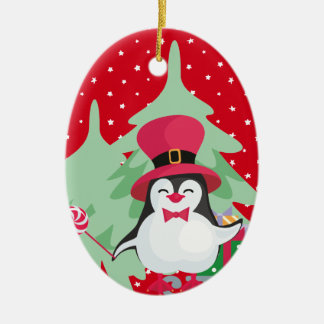 Ornamento De Cerâmica Pinguim festivo com trenó - vermelho
