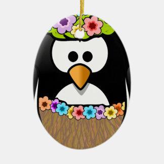 Ornamento De Cerâmica Pinguim havaiano com flores e saia de grama