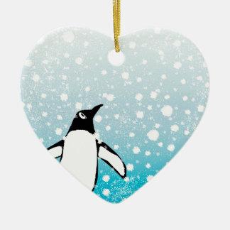 Ornamento De Cerâmica Pinguim na neve