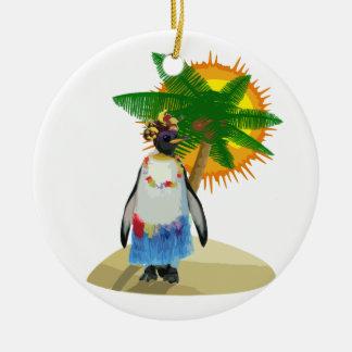 Ornamento De Cerâmica Pinguim tropical