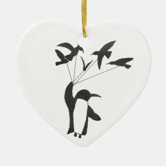 Ornamento De Cerâmica Pinguim vitorioso