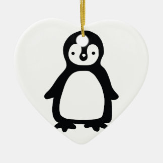 Ornamento De Cerâmica Pinguin preto e branco simples