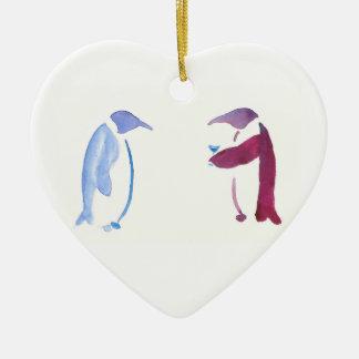 Ornamento De Cerâmica Pinguins do partido