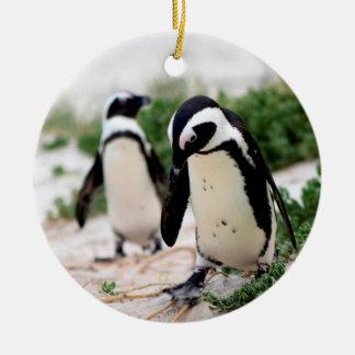 Ornamento De Cerâmica Pinguins na praia
