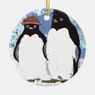 Ornamento De Cerâmica Pinguins você e mim que estão o teste do tempo