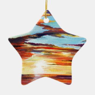 Ornamento De Cerâmica Pintura acrílica do por do sol