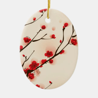 Ornamento De Cerâmica Pintura asiática do estilo, flor da ameixa no