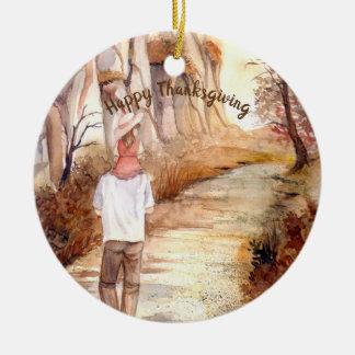 Ornamento De Cerâmica Pintura da aguarela da fuga do outono