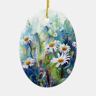 Ornamento De Cerâmica Pintura da aguarela do campo da margarida