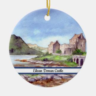 Ornamento De Cerâmica Pintura da aguarela do castelo de Eilean Donan
