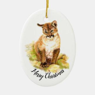 Ornamento De Cerâmica Pintura da aguarela do Natal de um filhote do puma