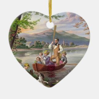 Ornamento De Cerâmica Pintura da vida familiar do vintage
