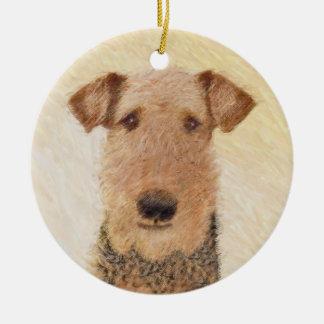 Ornamento De Cerâmica Pintura de Airedale Terrier - arte original bonito
