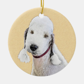 Ornamento De Cerâmica Pintura de Bedlington Terrier 2 - arte original do
