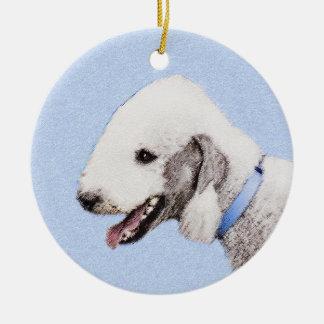 Ornamento De Cerâmica Pintura de Bedlington Terrier - arte original do