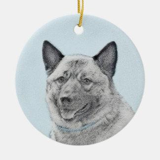 Ornamento De Cerâmica Pintura de Elkhound do norueguês - arte original