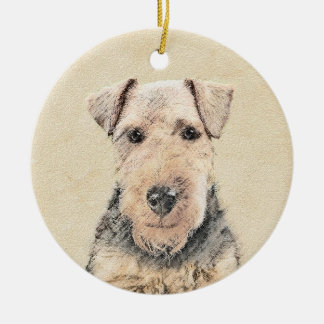 Ornamento De Cerâmica Pintura de galês Terrier - arte original bonito do