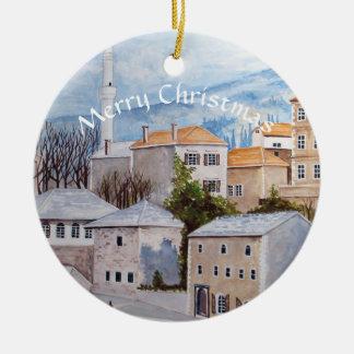 Ornamento De Cerâmica Pintura de Mostar Bósnia Townscape