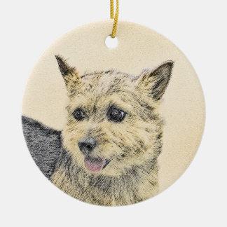 Ornamento De Cerâmica Pintura de Norwich Terrier - arte original bonito