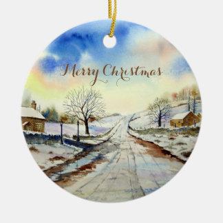 Ornamento De Cerâmica Pintura de paisagem invernal da pista