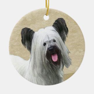 Ornamento De Cerâmica Pintura de Skye Terrier - arte original bonito do