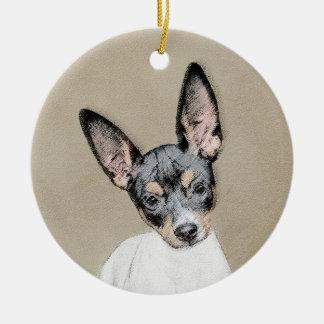 Ornamento De Cerâmica Pintura de Terrier de rato - arte original bonito
