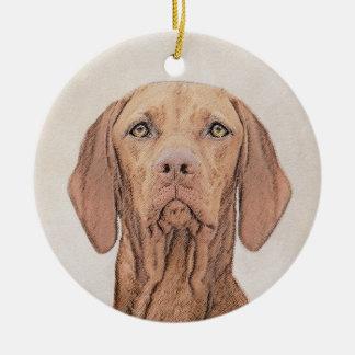 Ornamento De Cerâmica Pintura de Vizsla - arte original bonito do cão