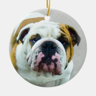 Ornamento De Cerâmica Pintura do buldogue - arte original bonito do cão
