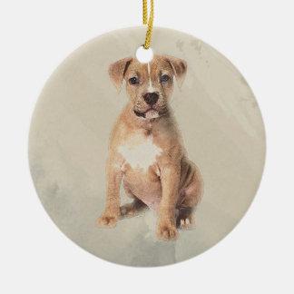 Ornamento De Cerâmica Pintura do esboço do filhote de cachorro do