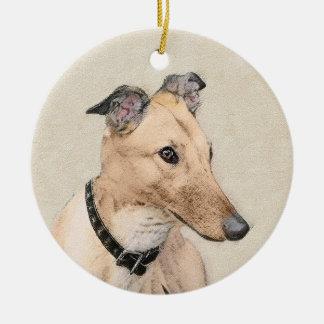 Ornamento De Cerâmica Pintura do galgo - arte original bonito do cão