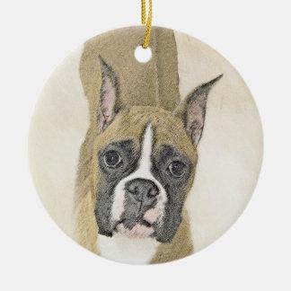 Ornamento De Cerâmica Pintura do pugilista - arte original bonito do cão