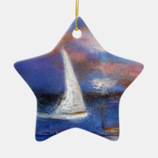 Ornamento De Cerâmica Pintura do Seascape da vela do porto do por do sol