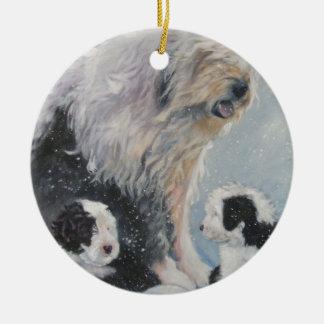 Ornamento De Cerâmica Pintura inglesa velha do SheepDog do inverno