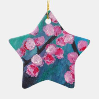 Ornamento De Cerâmica Pintura japonesa da flor de cerejeira