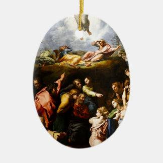 """Ornamento De Cerâmica Pintura original """"a transfiguração"""" Raffaello"""