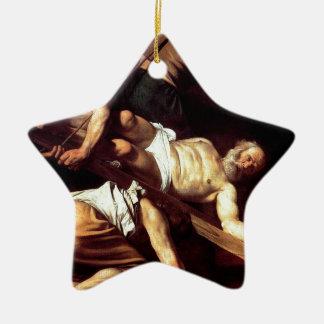 """Ornamento De Cerâmica Pintura original """"La crocifissione di s Pietro """""""