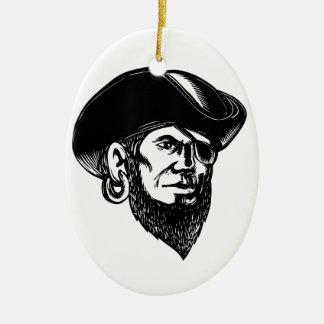 Ornamento De Cerâmica Pirata que veste o remendo Scratchboard do olho