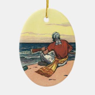 Ornamento De Cerâmica Piratas do vintage, Marooned em uma ilha
