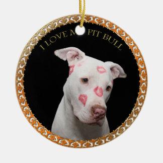 Ornamento De Cerâmica Pitbull branco com beijos do vermelho por todo o