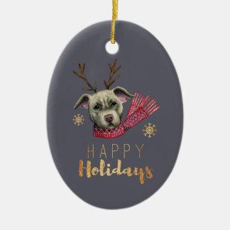Ornamento De Cerâmica Pitbull da rena do Natal com as pias batismais do