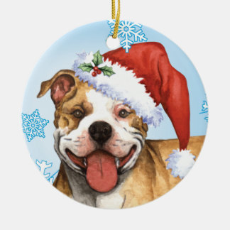 Ornamento De Cerâmica Pitbull feliz Terrier de Howliday