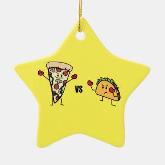 Ornamento De Cerâmica Pizza de Pepperoni CONTRA o Taco: Mexicano contra