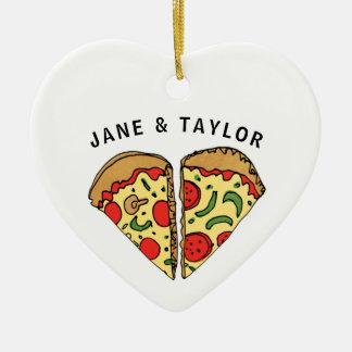 Ornamento De Cerâmica Pizza do amor personalizada
