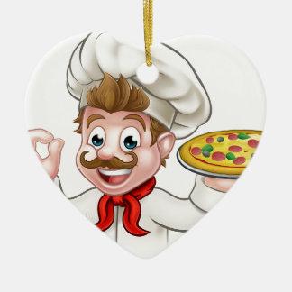 Ornamento De Cerâmica Pizza do cozinheiro chefe dos desenhos animados