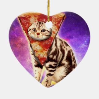 Ornamento De Cerâmica Pizza do gato - espaço do gato - memes do gato