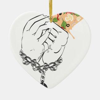 Ornamento De Cerâmica Pizza saboroso e mãos dos desenhos animados